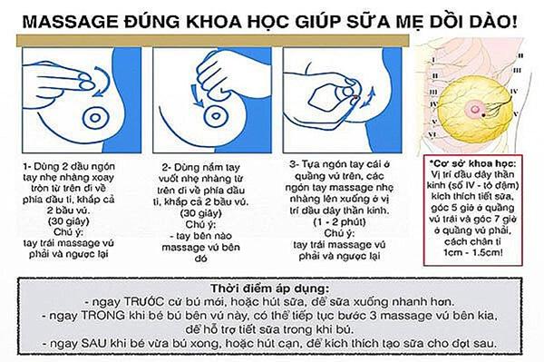 Hướng dẫn massage kích sữa