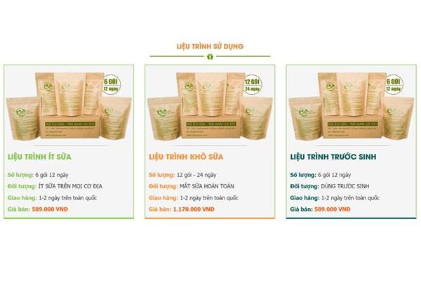 Liệu trình sử dụng kết hợp giá bán đối với trà ích sữa