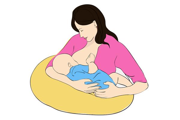 Đặt bé nằm thẳng với bầu ngực khi cho con bú