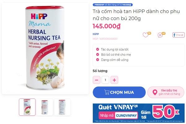 Giá bán của cốm lợi sữa Hipp