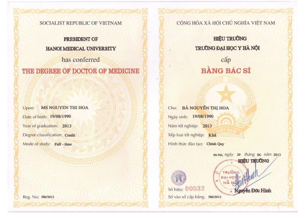 Bằng tốt nghiệp bác sĩ đa khoa tại Đại học y Hà Nội