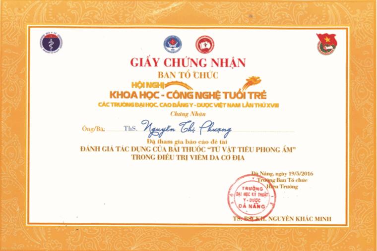 giấy chứng nhận hội nghị khoa học tuổi trẻ