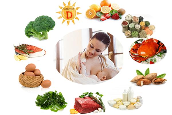 Mẹ sau sinh nên có chế độ ăn khoa học nhiều rau củ và trái cây