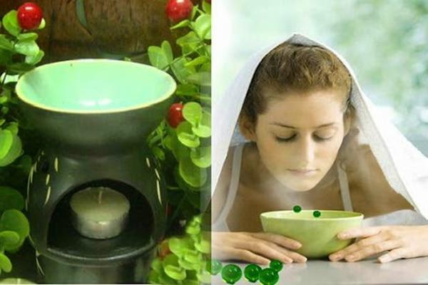 Cách xông tinh dầu bạc hà trị mụn, làm đẹp