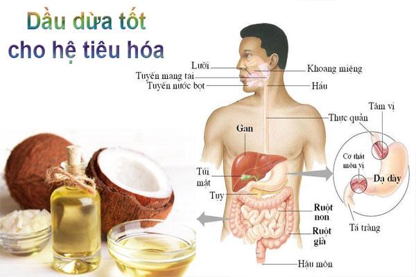 Trong dầu này chứa lượng đường và chất béo bão hòa vừa phải giúp tăng cường hoạt động hệ tiêu hóa
