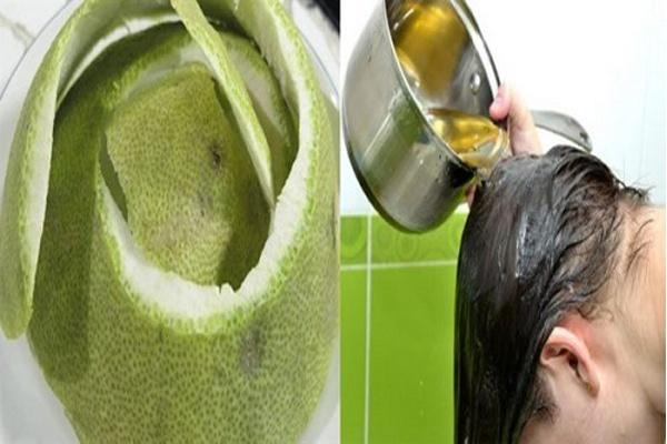 Gội đầu bằng vỏ bưởi là cách hiệu quả để khắc phục tình trạng rụng tóc, tóc gãy rụng