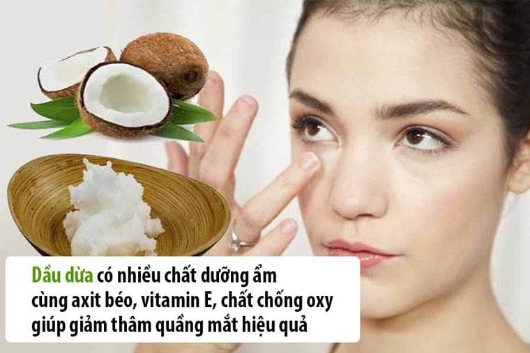 Dầu dừa giúp trị thâm mắt rất tốt