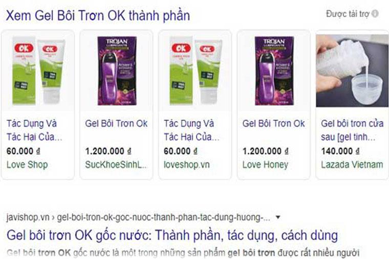 Gel bôi trơn OK được bày bán rộng rãi trên toàn quốc nên rất dễ tìm kiếm