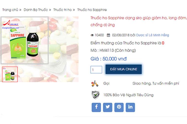 Giá thuốc sapphire hiện nay trên thị trường