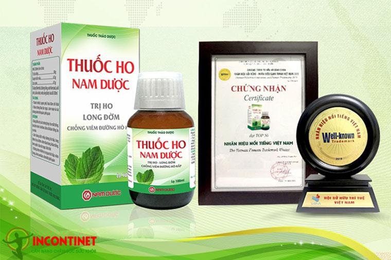 Thuốc Ho Nam Dược được chứng nhận nhãn hiệu nổi tiếng Việt Nam